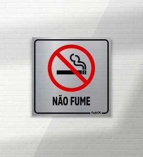 Placa Proibido Fumar - Aço Escovado - Placas Informativas -1